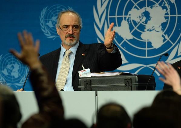 Senateur Bachar Al Jaafari lors conference presse Montreux Suisse 22 janvier 2014 1 600 423