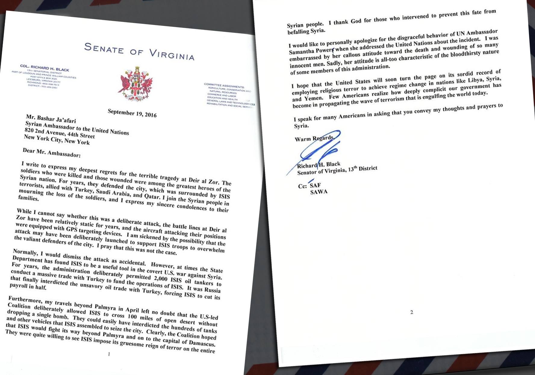 Lettre d'un Sénateur américain au Dr Bachar al-Jaafari, délégué permanent de la Syrie auprès des Nations Unis